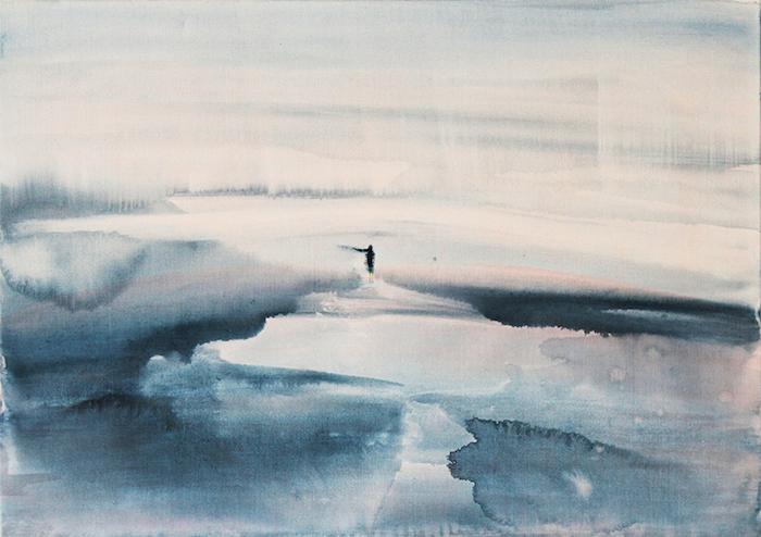 Regina Nieke-o.T.(Am Meer 10), Acryl Aquarell auf Baumwolle, 50x70cm